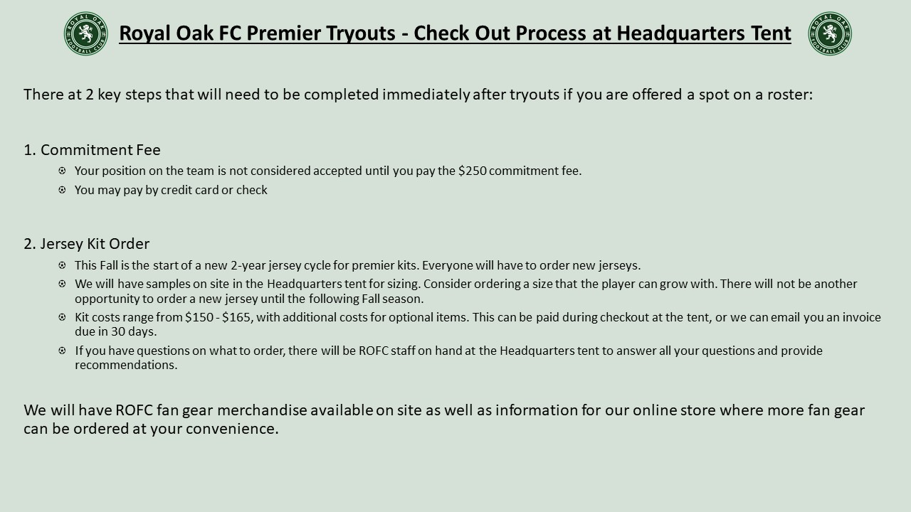 2021 ROFC Premier Tryouts Roster Acceptance Instructions
