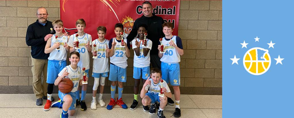 Mpls Lakers Youth Traveling Basketball Program Inc Boys 6th Grade Gold pose with their Trophies after becoming the Champions at the Annandale Cardinal Clash tournament in Annandale, MN
