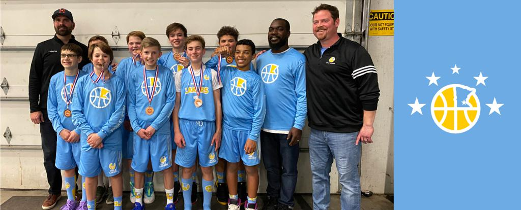 Minneapolis Lakers Boys 7th Grade Black pose with their medals after earning 3rd place at the Concordia Golden Bears Classic tournament in St Paul, MN