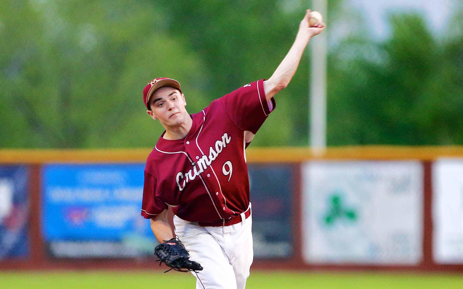 Maple Grove's Charlie Horton, better known as by the nickname Bubba, threw a four-hitter for the Crimson in a 2-0 victory over St. Michael-Albertville on May 15, 2015. Photo by Brian W Nelson, SportsEngine