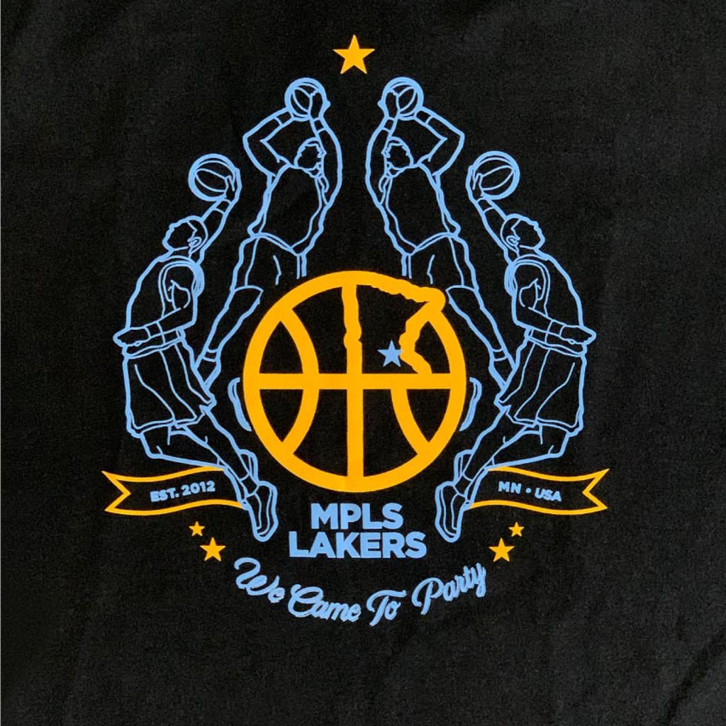 Screen printed basketball design on Black t-shirt