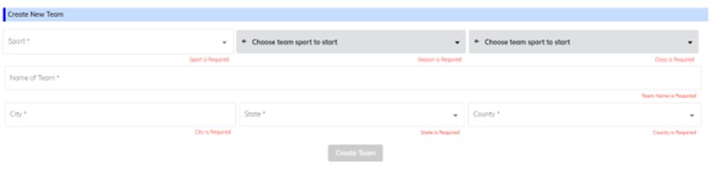 Create A Team Dialog Box