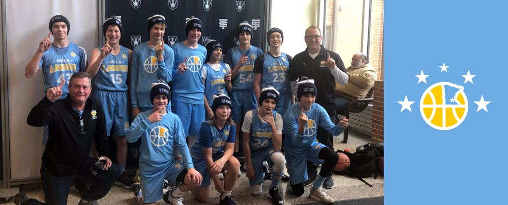 Minneapolis Lakers Boys 8th Grade Blue pose with their Hats after becoming the Champions at the Cadet Classic tournament in Mendota Heights, MN