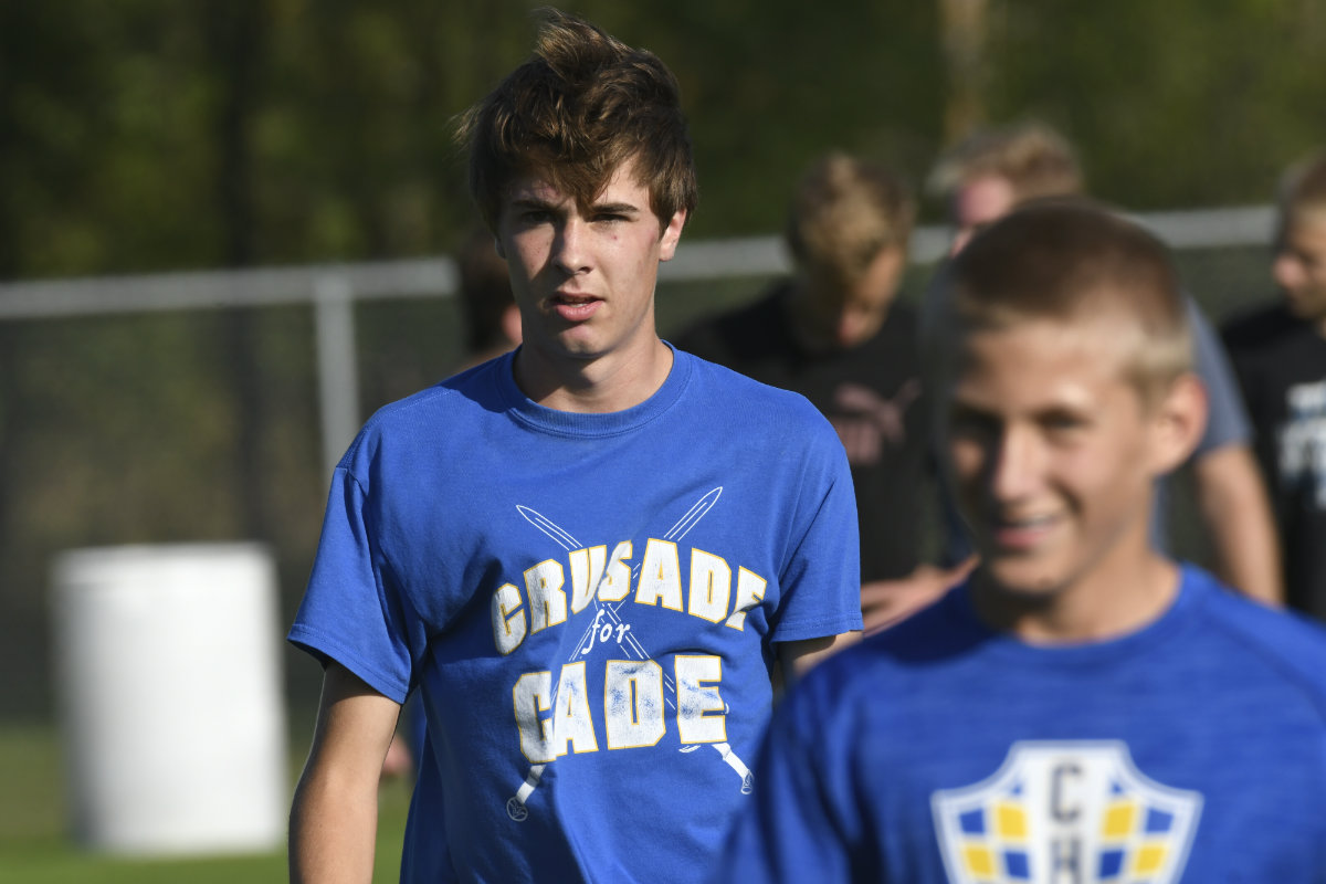 Midfielder Noah Amundson (left) is a key distributor for the Crusaders. He finished with 17 assists last season. Photo by Cole Mayer, SportsEngine