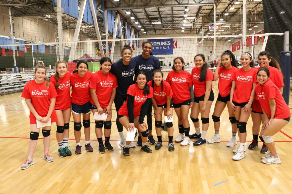 Starlings athletes with players from the USA Women's National Volleyball Team