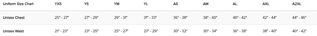 Score Sports Size Chart