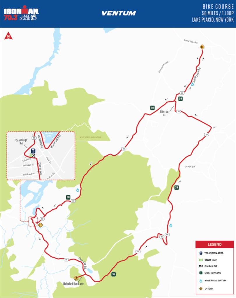Bike course map IM703 lake placid