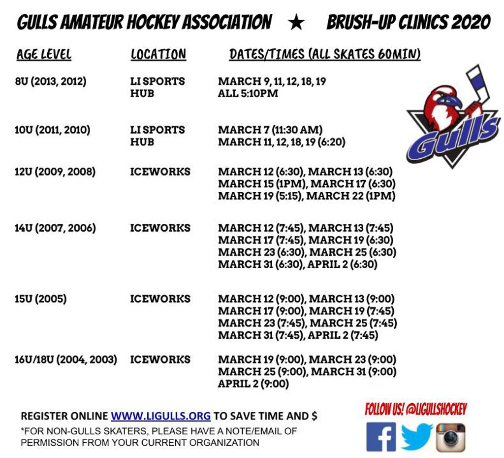 Brushup Clinic Schedule