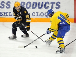 Breck senior Wesley Iverson (26) reaches for a loose puck (Photo by Tim Kolehmainen).