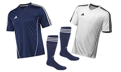 26a06fef7 SYC REC SOCCER UNIFORM PACKAGE INCLUDES: Two (2) high quality authentic Adidas  soccer jerseys ((1) navy blue and (1) white) with SYC logo & number, ...