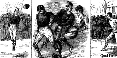 Drawings of what a match in the late 1800s might have looked like. Image courtesy of Goal-Post.
