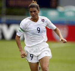 Mia Hamm in action during the USA's 4-0 victory over Norway at the National Sports Center in 2002.