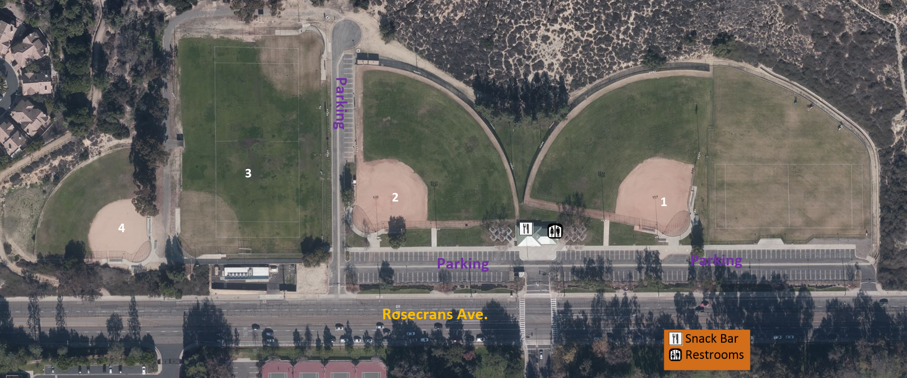 map of Rosecrans Sports Complex