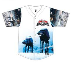 Special Hoth Star Wars Jersey to be worn by Boulders players for our Star Wars Night at Palisades Credit Union Park, in Pomona, NY.