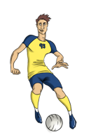 animated men's soccer player dribbling ball