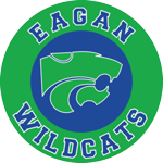 Big green circle with Eagan written on the top and Wildcats written on the bottom.  In the middle of the green circle is a blue circle with a green Wildcat logo pictured