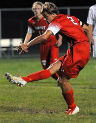Jake Makela scoring a goal during a regular season game.