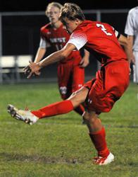 Jake Makela scoring a goal during a regular season game.