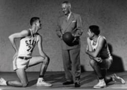 Everett Case understood the importance of marketing college basketball, which included taking photos like this with Cliff Hafer (left) and John Maglio.