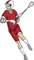 animated lacrosse player getting ready to shoot the ball