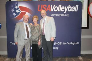 Junior Director Bill Doyle and Officials Chair Tim Countryman who represented GEVA at the USAV annual meetings, with Margie Mara who had just won the Friar Award, USA Volleyball's highest service award