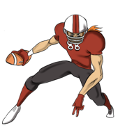 animated football player holding the ball